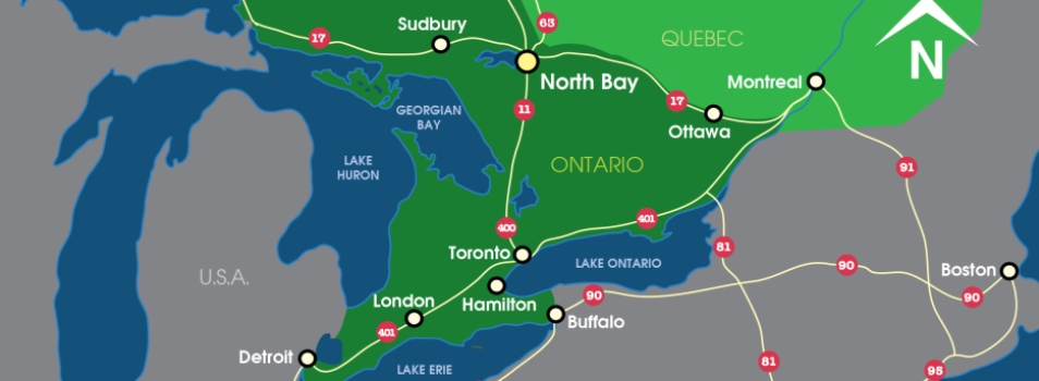 Map showing distances to North Bay